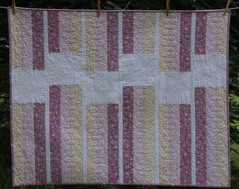 Pink, Cream, and Rose Stripe Modern Baby/Toddler Quilt