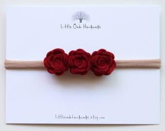 Crown Felt Flower Headband - Red - Baby Headband - Flower Headband - Nylon Headband