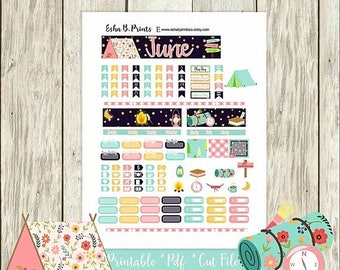 30% OFF SALE Great Outdoors Printable Planner Stickers/A6 Traveler Notebook/Monthly Kit/Annie Plans Printable/June Glam Summer Camping Fishi