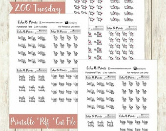 Two Dollar Tuesday Functional Text Set1 Printable Planner Stickers/Weekly Kit/For Use with Erin Condren/Cutfiles/Fall September Glam Coffee