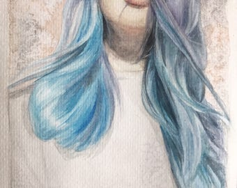 Blue hair watercolor print