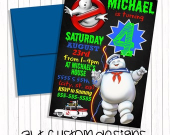 Ghostbusters Birthday Invitation - printable - ghostbusters invitation - ghostbusters birthday party