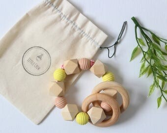 Wooden Rattle/ Teether Rattle/ Neutral Colours