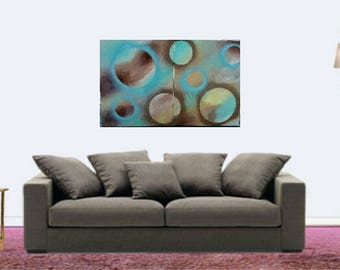 Handmade acrylic painting on two canvases 36x20,contemporary art, blue brown beige, texture, wall art