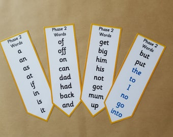 Phase 2 Phonics Bookmarks - Literacy, letters and sounds, EYFS, early learning, key words, reception, tricky words,