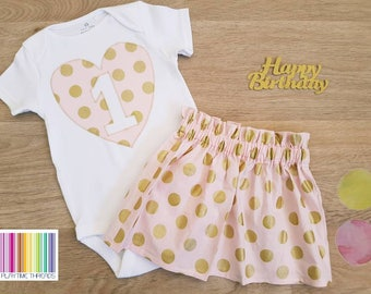 Girls First Birthday Outfit, Girls Cake Smash, Size 0 Girls Onesie / Bodysuit & Skirt Outfit, 1st Birthday, Pink and Gold Birthday Set