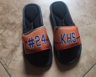 Custom basketball slides, basketball slide-on sandals, custom sandals, basketball slides