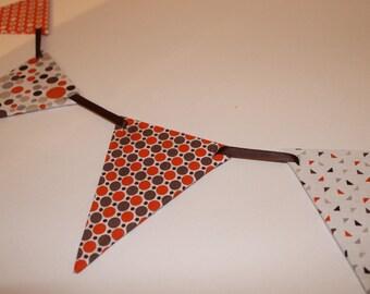 Garland pennants patchwork orange brown
