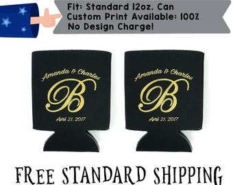 Monogram Gold and Black Custom Collapsible Neoprene Wedding Can Cooler Double Side Print (realphoto36)
