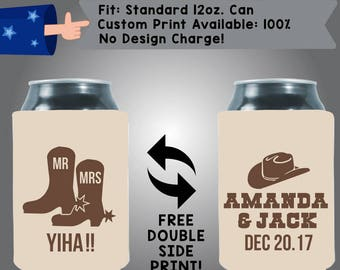 Mr Mrs YIHA Collapsible Fabric Wedding Can Coolers, Cheap Can Coolers Wedding Favors (Etsy-W243)