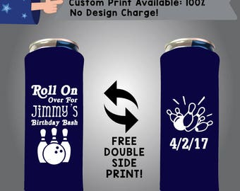 Roll On Over For Name's Birthday Party Bash 24 oz Large Can Birthday Cooler Double Side Print (24LC-W2)