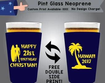 Birthday Party Neoprene Pint Glass Birthday Double Side Print (NEOPINT-Birth01)
