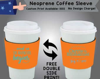 And so The Adventure Begins Name & Name Date Neoprene Coffee Sleeve Wedding Double Side Print (NCS-W8)