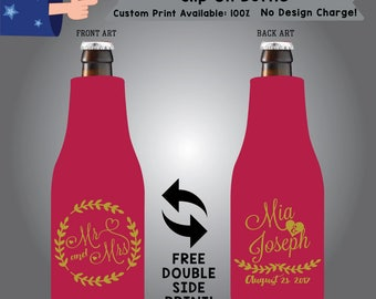 Mr and Mrs Name & Name Date Slip On Bottle Double Side Print (SF-W8)