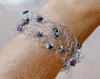 Bracelet knitted star Hämatitarmband knitted jewelry knitted bracelet knit Hämatitsterne striped wire Jewelry