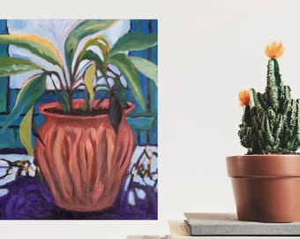 Oil Painting Plant, still life on canvas, 20x24 inches, Pretentious Plant, peinture huile sur toile, Plante grandiose, judydcreates,