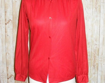 Size 8 vintage 80s loose fit long sleeve blouse small collar red stripes (HK83)