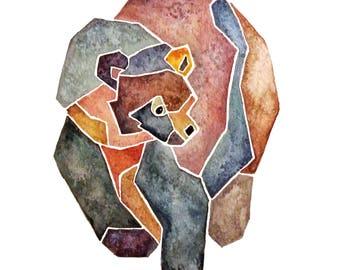 Watercolor Geo Bear print