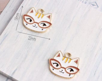 10PCS 18*22MM Cat Charms Kitten Jewelry Pendants Diy Jewelry Accessories for Necklace & Bracelet Making Enamel Charms