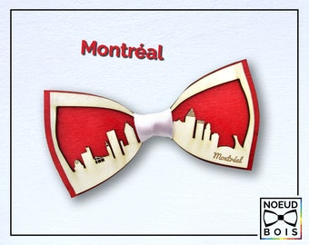 Wooden bow tie, Montreal Pattern, road trip collection, laser cut, engraved, customizable, city outline, travel, around the world, quebec