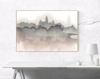 Brown & Grey Abstract Watercolor Art, Printable Digital Download, Wall Art, Home Decor, Zen, Minimalist, Abstract Art, Abstract Landscape