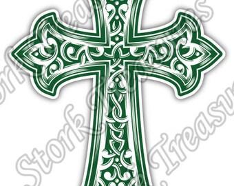 Green Cross Celtic Irish Ireland Car Bumper Vinyl Sticker Decal
