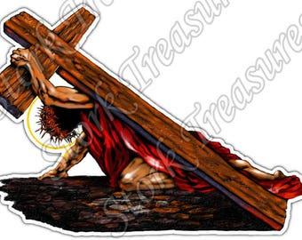 Jesus Christ Religion Cross Christianity Car Bumper Vinyl Sticker Decal