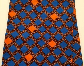 Blue & Orange African Fabric Fabric; African Clothing; African Fabric; African Fabric in yard; African Headwrap; Ankara Fabric; Blue Fabric