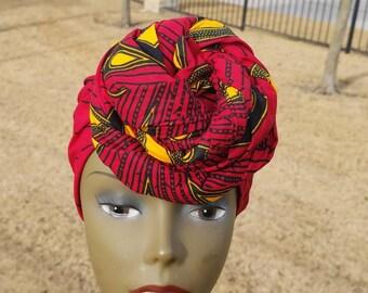 Red Ankara Head wrap; Red African Headwrap; African Clothing; African Fabric Headwrap; African Scarf; Fabric Headwrap: Headwrap; Head tie