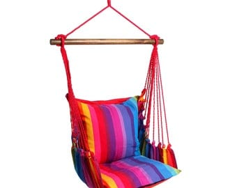 Hanging Chair RELAX, cotton stripes, up to 120 kg, without pillows, #160