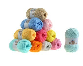 10 x 50 g knitting wool Baker by VLNIKA, free choice of color (color: apricot)