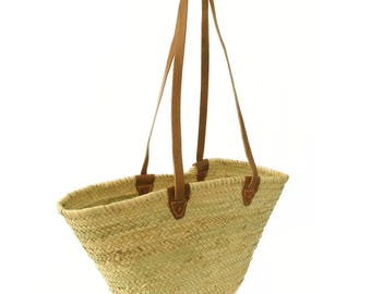 High quality palm bag/Ibiza bag made of palm with long leather handles!