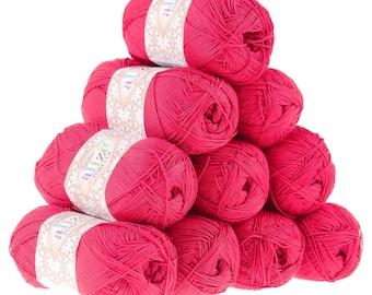 10 x 50 g crochet / Knitting yarn ALIZE FOREVER, #396 mohnrot