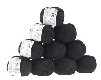 10 x 50g Strickgarn Cotton Bay, #01 schwarz