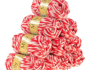10 x 50 g MILLY #10021 red/white wool, knitting felt 100% pure new wool