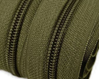 6m endless zipper 5mm with 15 zippers and tails 263 army green