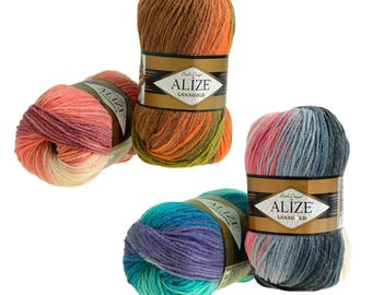Knitting yarn ALIZE Lanagold batik 49% wool, 100 g, free choice of colors (color: winter cold)