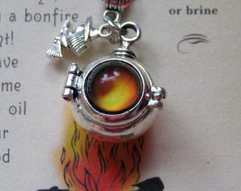 Witch Cauldron Locket with a Mood Stone, Colour Changing Jewelry, Witchy Necklace, Mood Stone Jewelry, Witch Jewelry, Cauldron, witch