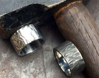 Hammered Ring. Made to Order. Hand Forged Ring. Rugged Ring. Stainless Steel Ring.