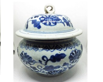 RARE Antique Chinese Blue and White Porcelain Jar MING DYNASTY
