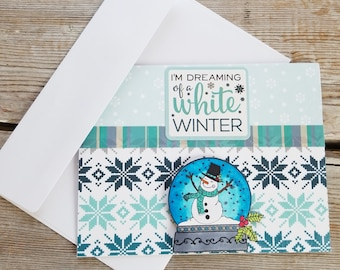 Snowman Card - Blue Card - Snowflake Cards - Christmas Card Snowman - Winter Cards - Snowman Holiday Card - Winter Greeting Cards