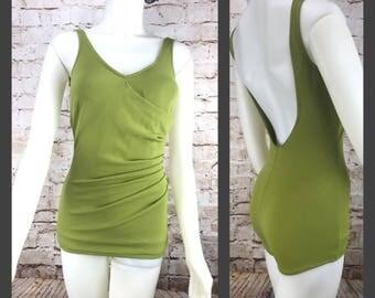 Vintage 60's Olive Green Boy Shorts Swimsuit - One Piece Swimwear