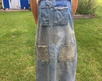 Vintage Retro Well-Used Denim Workshop Apron with 4 pockets costume cosplay shop garden