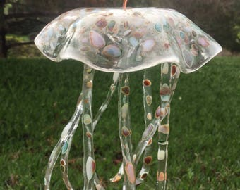 JELLYFISH WINDCHIME PEBBLE, brown green, jelly fish, wind chime, clear, white