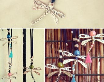 Dragonfly pendant.  Long and short necklace with silver plated Dragonfly. Colors ceramic Dragonfly pendant.