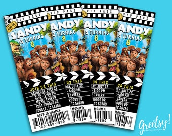 The Croods Invitation, The Croods Birthday, The Croods Party, The Croods Movie Pass, The Croods Birthday Party Ticket, The Croods 2 Movie