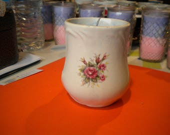 Tea Cup Soy Candle with Essential Oils Hand Crafted All Natural Scent: in Wild Blue Berry in a Tea Cup
