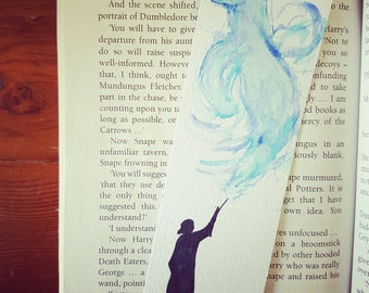 Snape's Expecto Patonum Bookmark, Harry Potter, Always, Slytherin, watercolour