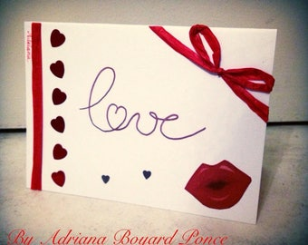 Card love Valentine's day red and white