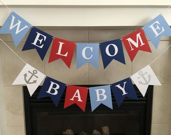 Nautical Baby Shower, Welcome Baby Banner, Anchor Baby Shower, Red Blue, Baby Shower Banner, Baby Sprinkle, Photo Prop